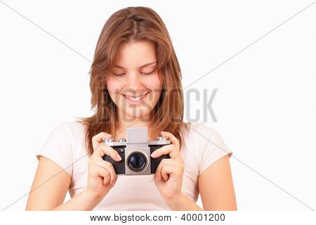 Smiling Young Girl With An Old Camera
