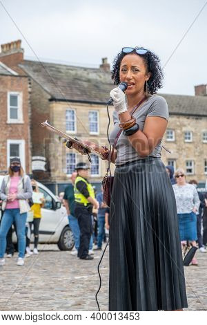 Richmond, North Yorkshire, Uk - June 14, 2020: A Black Woman Presents At A Black Lives Matter Protes