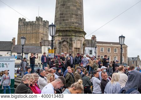 Richmond, North Yorkshire, Uk - June 14, 2020: A Group Of Anti-black Lives Matter Protesters Stand A