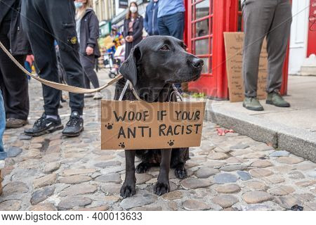 Richmond, North Yorkshire, Uk - June 14, 2020: A Dog With An Anti-racism Banner At A Black Lives Mat