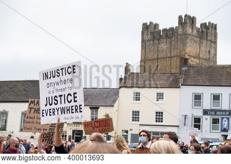 Richmond, North Yorkshire, Uk - June 14, 2020: Black Lives Matter Banners In Front Of Richmond Castl