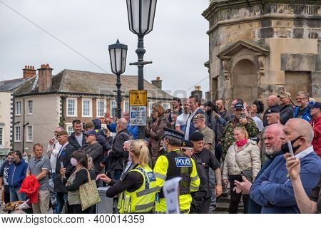 Richmond, North Yorkshire, Uk - June 14, 2020: A Group Of Anti-black Lives Matter Protesters Gathere