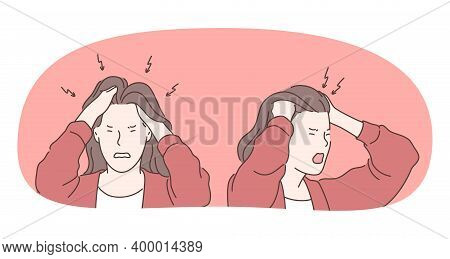Anger, Rage, Headache Concept. Young Angry Furious Female Cartoon Character Standing Touching Head W