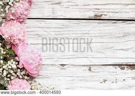 Pink Peonies And Baby's Breath Flowers Over A White Rustic Wood Table Background  With Copy Space Fo