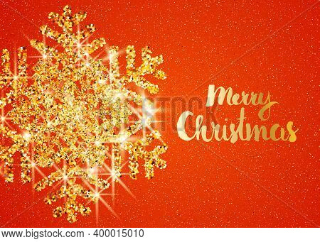 Merry Christmas Greeting Card. Merry Christmas Phrase And Blue Stars On Dark Blue Background. Vector