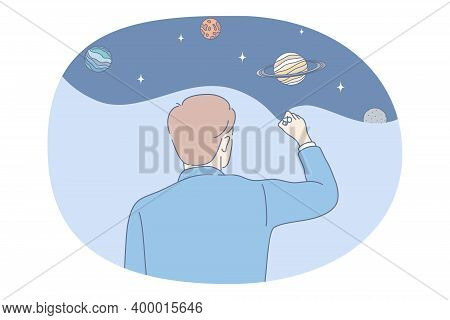 Astronomy And Planetarium Concept. Men Scientist Standing Backwards And Making Picture Of Planets In