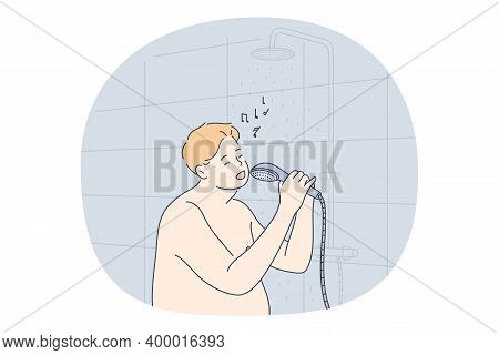 Listening To Music, Singing, Recreation Concept. Smiling Man Using Shower As Microphone And Singing