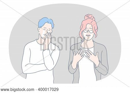 Grief, Crying, Sadness Concept. Young Unhappy Couple Cartoon Characters Standing And Crying Together