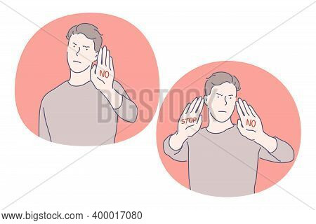 Stop, Rejection, Prohibition Concept. Angry Serious Man In Casual Clothing Cartoon Character Standin