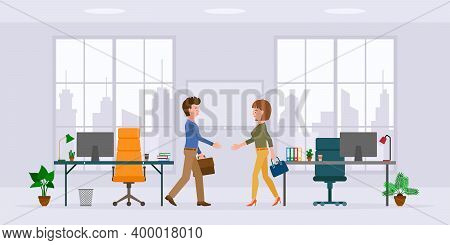 Office Cartoon Character Male And Female Hands Shaking In Modern Workplace Vector Illustration Set.