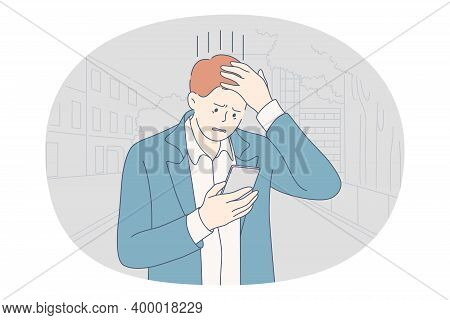 Stress, Overwork, Problems Concept. Unhappy Depressed Stressed Young Businessman Office Worker Touch