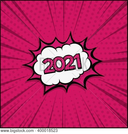 Colorful Comic Zoom New Year 2021- Vector Illustration