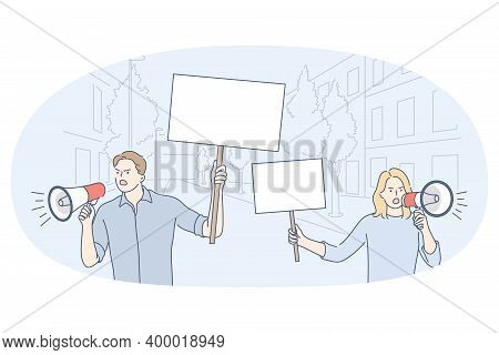 Demonstration, Promotion, Protest Concept. Young Angry Active Couple With Speakers Riots Standing An