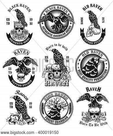 Black Ravens Emblems Set. Monochrome Design Elements With Human Skulls, Bones And Crows With Text. H