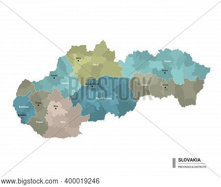 Slovakia Higt Detailed Map With Subdivisions. Administrative Map Of Slovakia With Districts And Citi