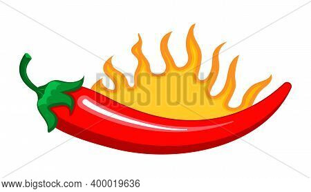 Red Chilly Peppers Are Burning As Sign. Cartoon Vector Isolated On The White Background. Hot Chillie