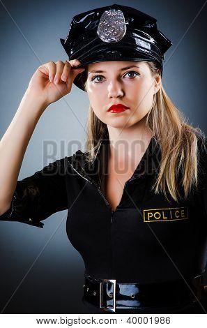 Attractive police office in dark room