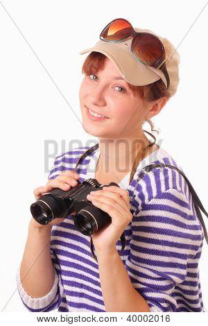 Beautiful Young Girl With Binoculars