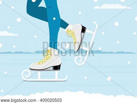 Pair Of White Skates. Figure Skating. Women's Skates. Winter Active Outdoor Leisure Ice Skates. Vect