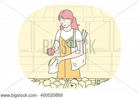 Healthy Food, Clean Eating, Vegetarian Diet Concept. Young Positive Woman Cartoon Character Choosing
