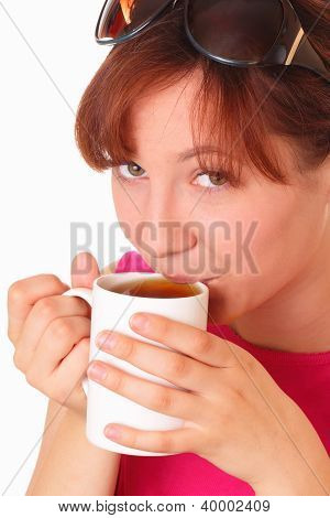 Beautiful Young Girl Drinking Tea