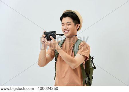 Full Length Portrait Of Happy Tourist Photographer Man On White Background. Travel Blogger, Tourist