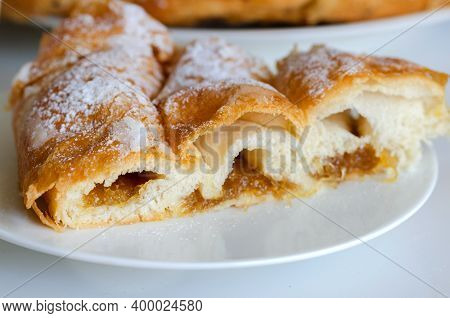 Piece Of Ensaimada,  Coil-shaped Flaky Pastry  From Mallorca,  Balearic Islands. This Is One Of Popu