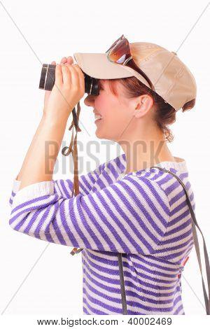 Beautiful Young Girl Looking Through Binoculars