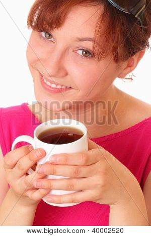 Beautiful Young Girl With A Cup Of Tea