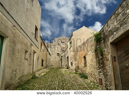 Ancient Streets In Old Italian Style. Erice, Sicily, Italy