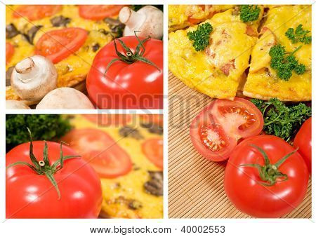 Vegetarian Pizza With Mushrooms And Tomatoes