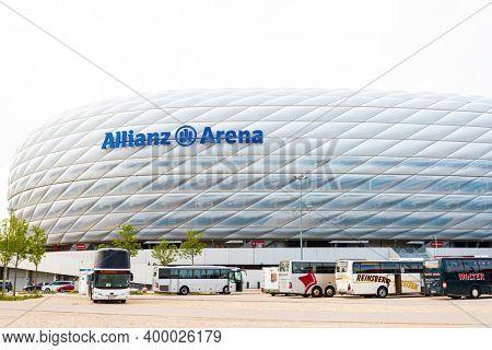 MUNICH, GERMANY- June 25, 2018: Allianz Arena football stadium in Munich, Germany