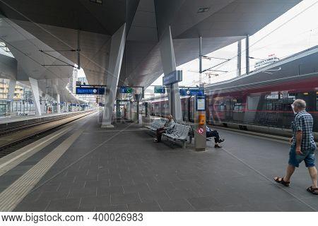 Vienna, Austria - August 30, 2020: Platform On Wien Hauptbahnhof Train Station.