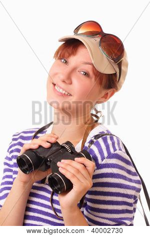 Smiling Young Girl With Bonoculars