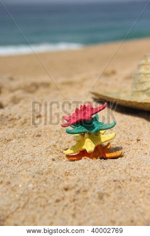 Funny Starfishes On The Beach