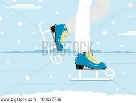 Pair Of White Skates. Figure Skating. Men's Skates. Winter Active Outdoor Leisure Ice Skates. Vector
