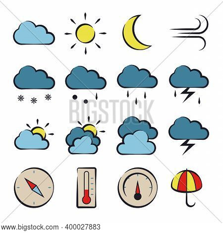 Weather Forecast Icons Set, Colored Elements With Dark Interrupted Outline. 12 Weather Display Eleme