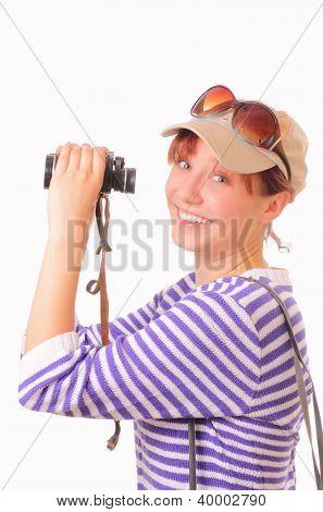 Funny Young Girl With Binoculars