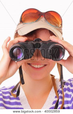 Happy Young Girl Looking Through Binoculars