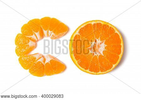 Tangerine Slice With Shadow Isolated On White Background