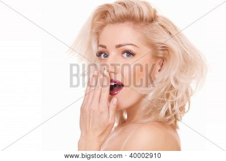 Surprised Blonde Woman