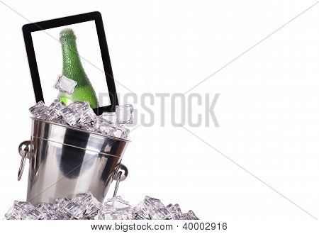 Computer-champagne Concept Background Isolated