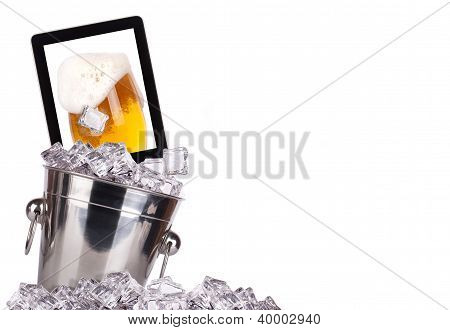 Computer-beer Concept Background Isolated