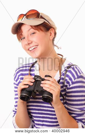 Happy Young Girl With Binoculars