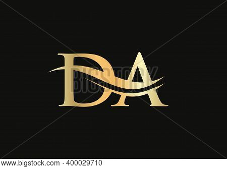 Da Logo Design For Business And Company Identity. Creative Da Letter With Luxury Concept. Water Wave