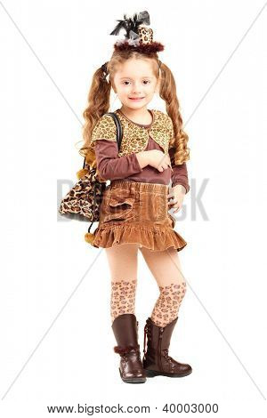 Full length portrait of a smiling girl posing isolated on white background