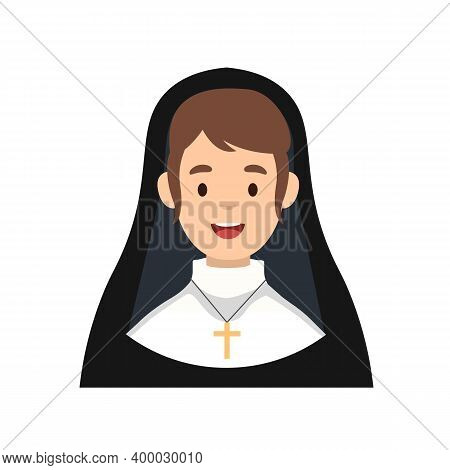 Sister Nun Avatar Isolated On White Background. Catholic Sister Nun Character Icon. Religious Concep