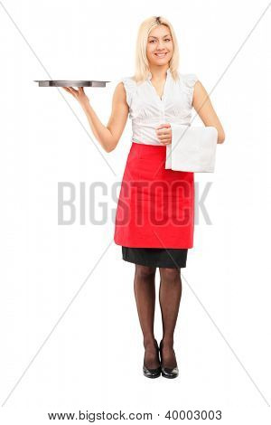 Full length portrait of a smiling female waitress holding a tray isolated on white background