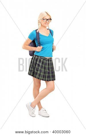 Full length portrait of a female student with school bag isolated on white background