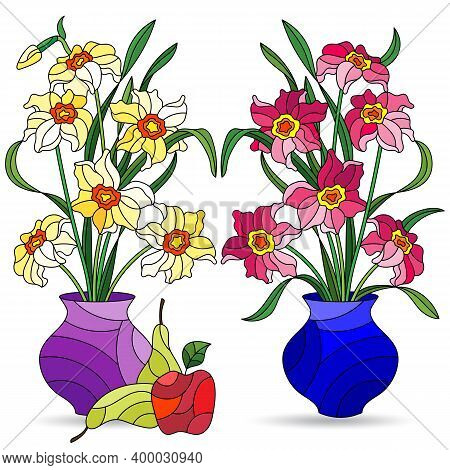 Set Of Illustrations In Stained Glass Style With Bouquets Of Daffodils Flowers In Vases And Fruits,